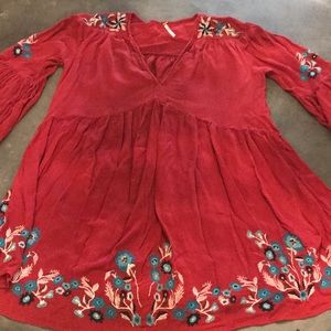 Free people embroidered red tunic